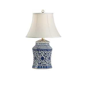Blue and White One-Light Dynasty Vase Lamp