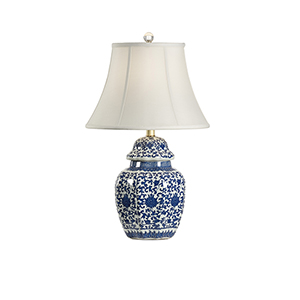 Blue and White One-Light Tower Vase Lamp
