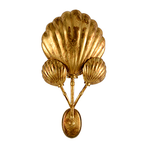 Bradshaw Orrell Gold Three-Light Shell Sconce