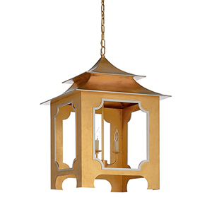 Claire Bell Gold and Silver Three-Light Tole Pagoda Lantern