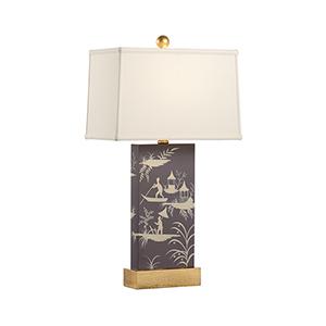 Pam Cain Plum and Cream One-Light Chinoiserie Panel Lamp