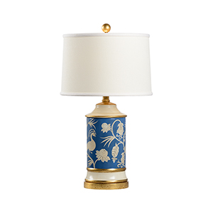 Pam Cain Blue and White One-Light Middlebury Lamp