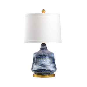 Blue and White One-Light Beehive Lamp