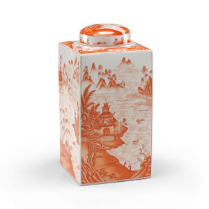 Canton Red and White Tea Caddy Jar