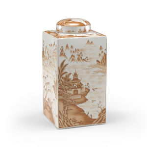 Canton Brown and White Tea Caddy Jar