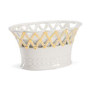 White and Metallic Gold Lace Planter
