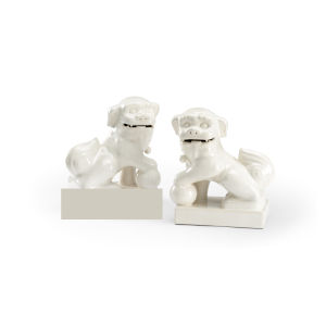Antique White Dogs with Ball Figurine
