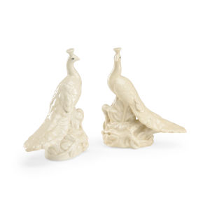 Antique White Peacocks Figurine