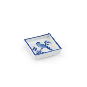 Blue and White Square Bird Tray
