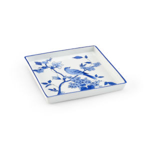 Blue and White Bird Square Tray