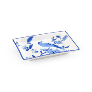 Blue and White Bird Tray
