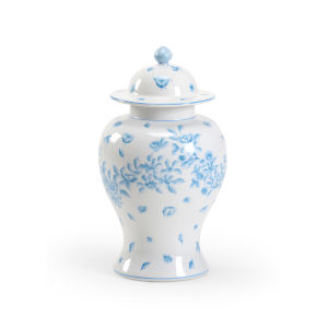 Wales Cream and Blue 11-Inch Covered Urn