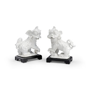 White and Black Chinese Dogs Figurine