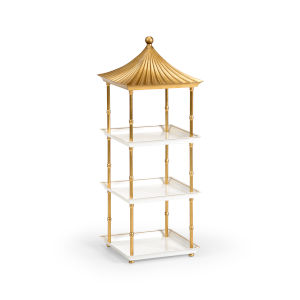 Gold and White Pagoda Shelf