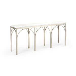 Arches Natural Gray and Antique Silver Console Table