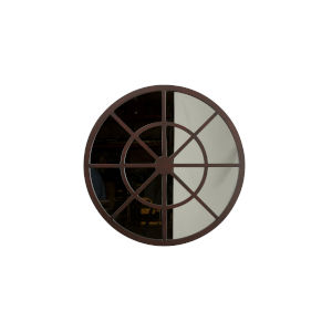 Charlotte Dark Brown Round Wall Mirror