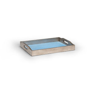 Antique Silver with Blue Small Shagreen Tray