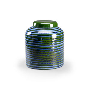 Blue Swirl Covered Jar