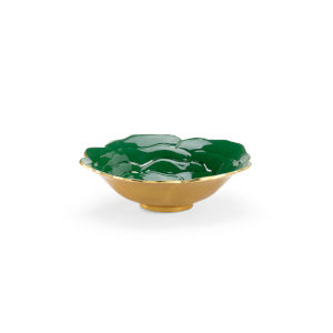 Emerald Green with Metallic Gold Enameled Decorative Bowl