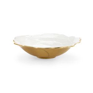 White and Metallic Gold Enameled Decorative Bowl