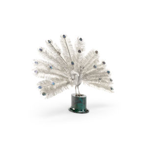 Glorious Silver and Green Peacock Figurine