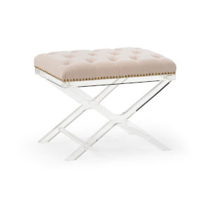 Soho Clear and Gray Tufted Bench