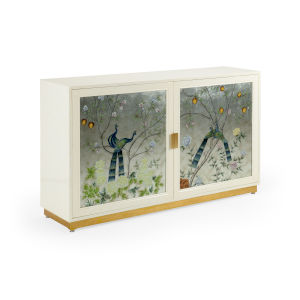White 58-Inch Chinoiserie Cabinet