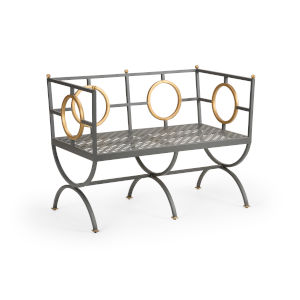 Dark Steel and Gold 24-Inch Circle Bench