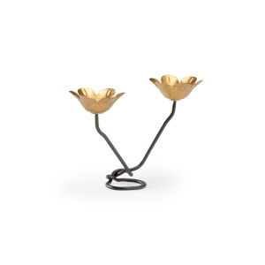 Antique Gold Tulip Candle Holder