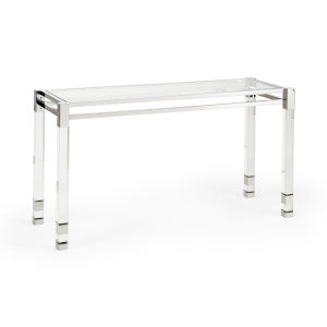 Vancouver Clear and Nickel Console Table