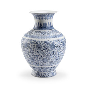Kofun Blue And White 13-Inch Urn