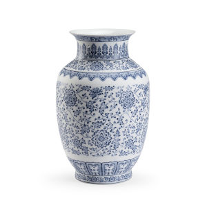 Kofun Blue and White 11-Inch Vase