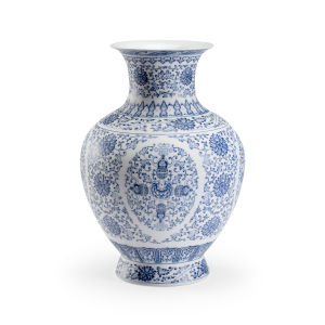 Edo Blue and White 13-Inch Urn