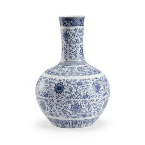 Edo Blue And White 12-Inch Vase