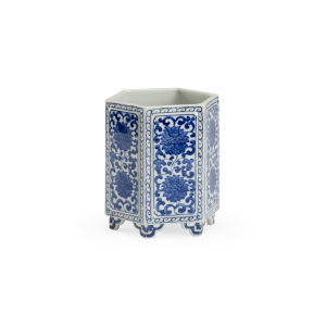 Blue And White Hexagonal Vase