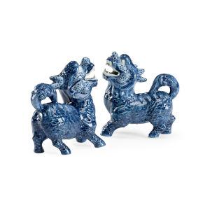 Blue Three-Inch Foo Dogs Figurine