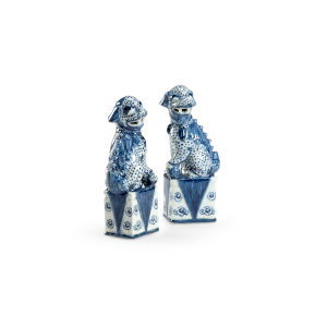 Blue and White Palace Dogs Figurine