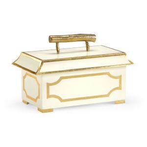 Cream and Gold Tole Pagoda Jewel Box