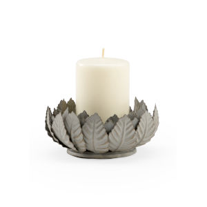 Antique Zinc Leaf Votive Candleholder