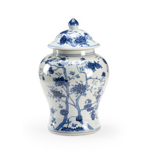 Blue and White 11-Inch Ginger Jar
