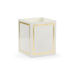 Ibiza Cream and Gold Wastebasket