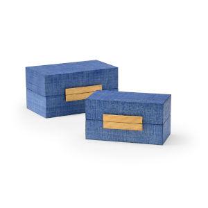 Raffia Blue and Gold Decorative Box