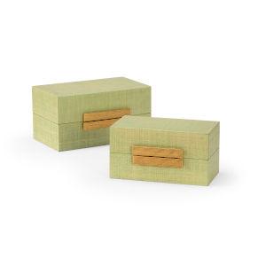 Raffia Seafoam and Gold Decorative Box