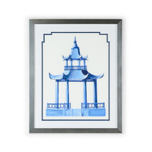 Silver Chinese Pagoda II Wall Art