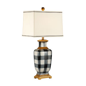 Plaid Dark Brown One-Light Table Lamp
