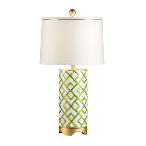 Green and Cream One-Light Bamboo Squares Table Lamp