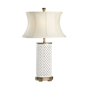 Walker White and Bronze One-Light Table Lamp
