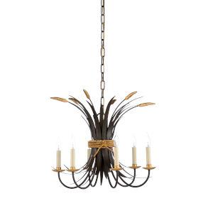 Bronze and Antique Gold Six-Light Chandelier