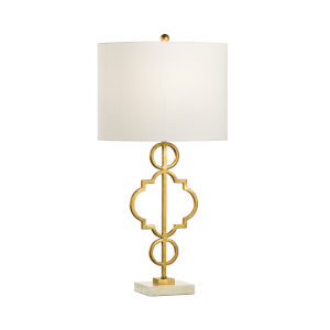 Artistic Antique Gold and White One-Light Table Lamp