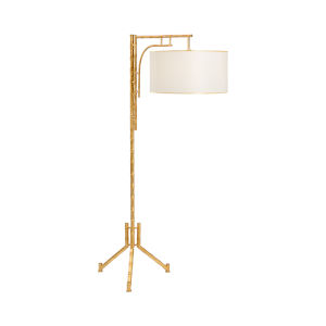 Antique Gold One-Light Bamboo Floor Lamp